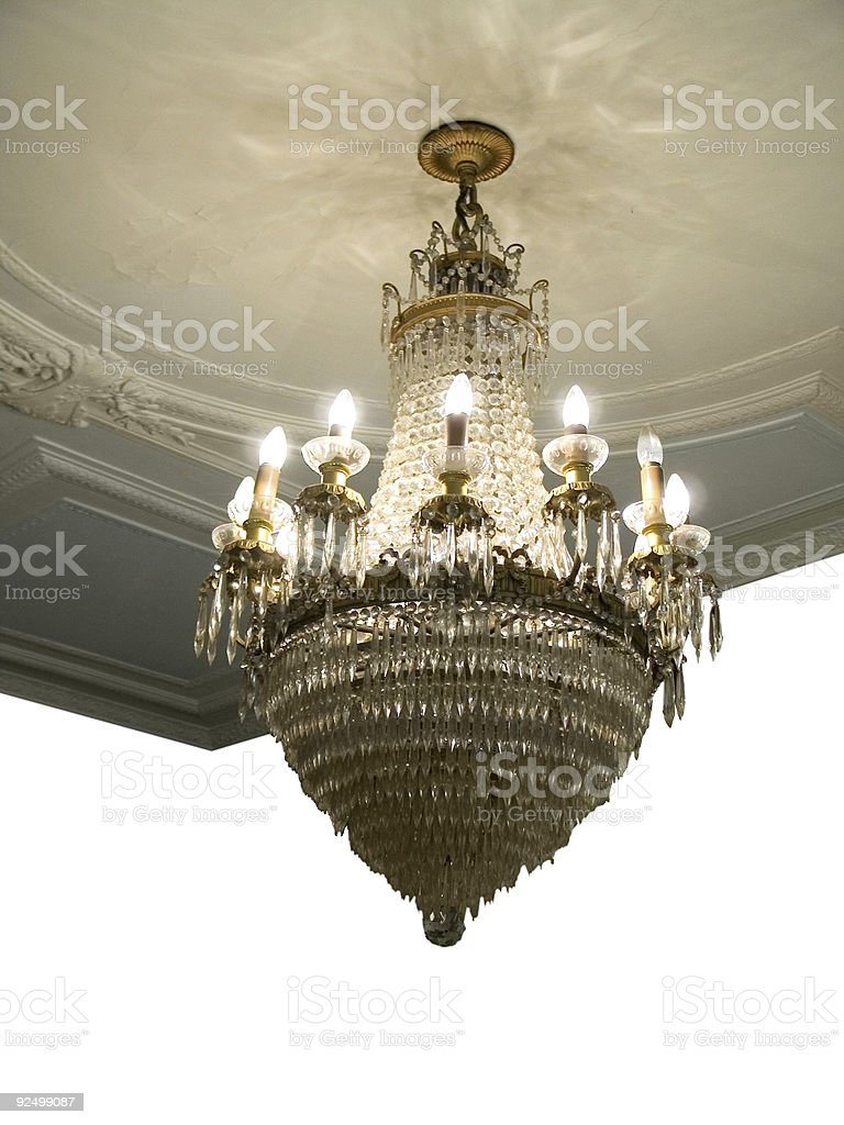 Chandelier and Ornate Ceiling royalty-free stock photo