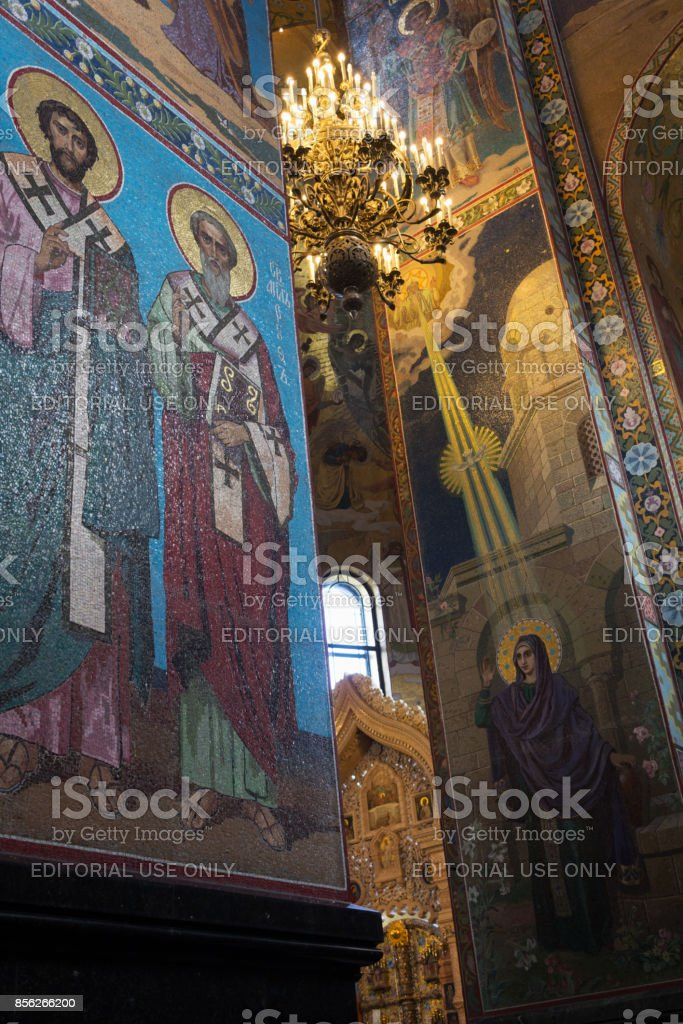 A chandelier and the mosaic inside the Church of the Savior on Spilled Blood stock photo