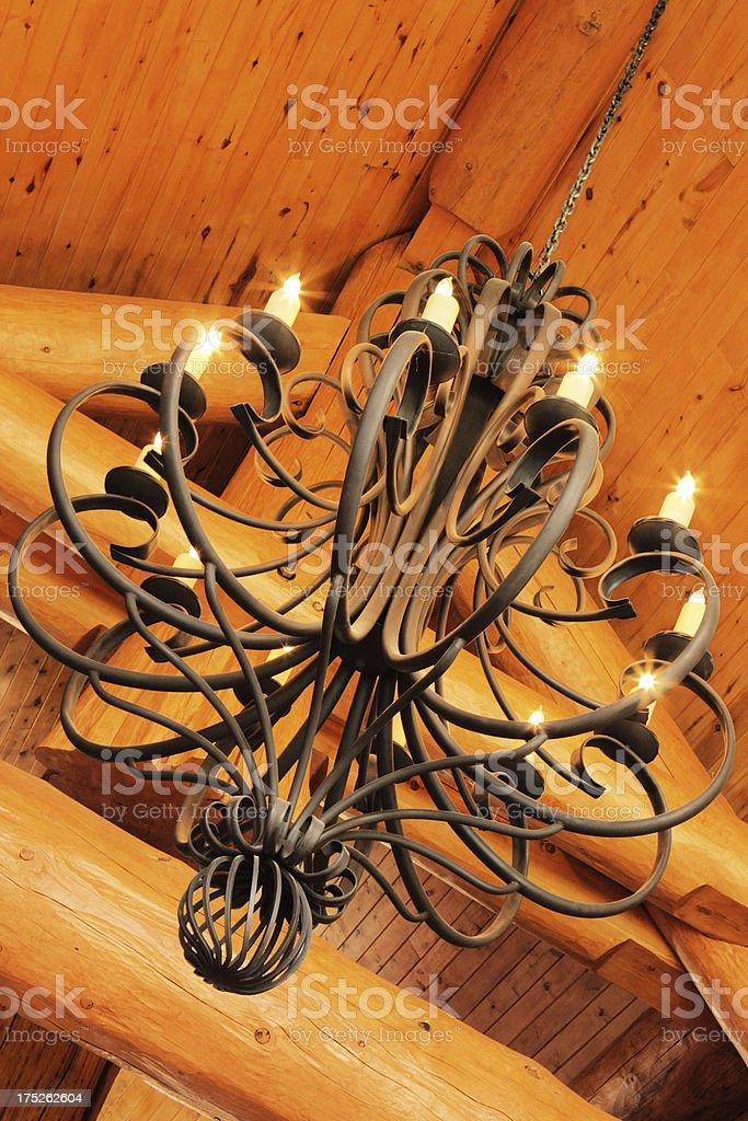 Chandelier Decor Log Cabin Light Fixture   Stock Image .