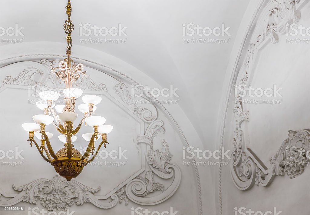 Chandelier in Moscow metro stock photo
