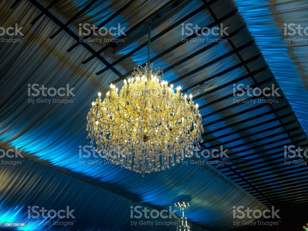 A Chandelier in the hotel stock photo