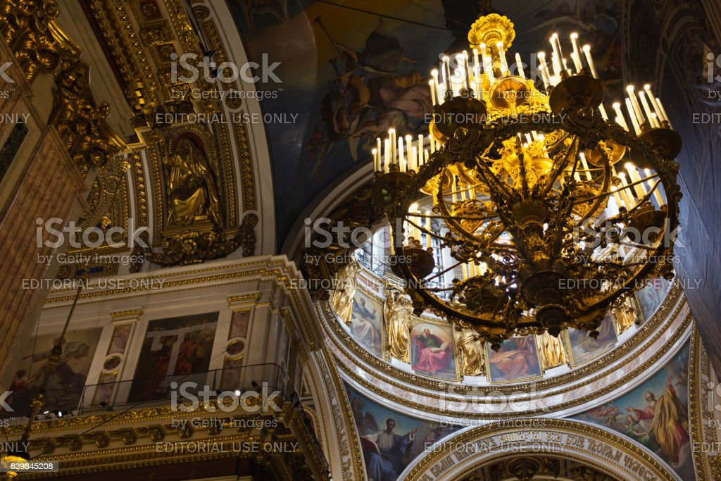 A chandelier inside the Church of the Savior on Spilled Blood stock photo