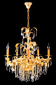 A beautiful chandelier isolated on black.