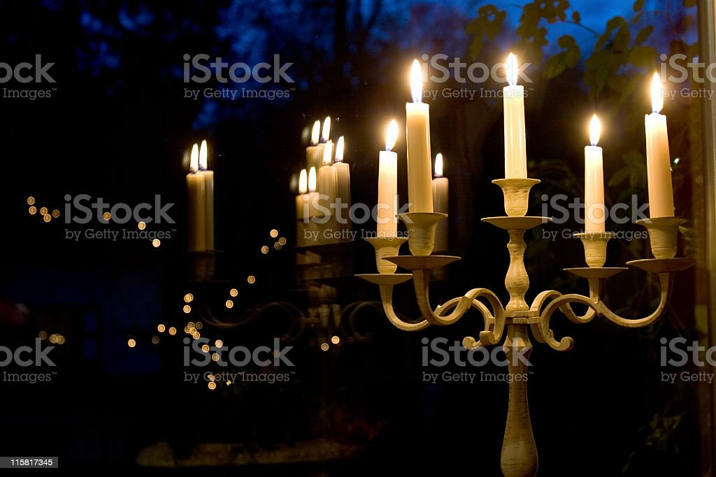 chandelier reflected in window royalty-free stock photo