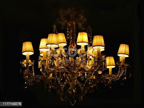 1137999886 istock photo Chandelier vintage with lampshade 1177140276