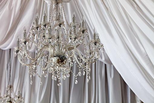 Chandeliers at a wedding venue