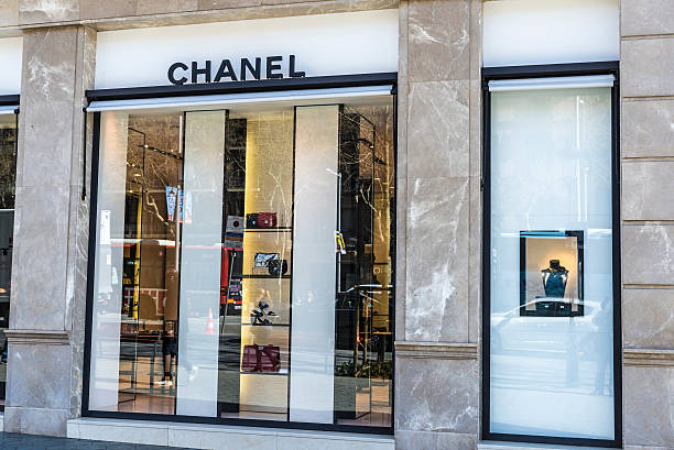 Chanel Boutique Store, Barcelona Barcelona, Spain - March 27, 2015: Chanel Boutique store located on Passeig de Gracia, one of the most expensive streets in Europe. gracia baur stock pictures, royalty-free photos & images
