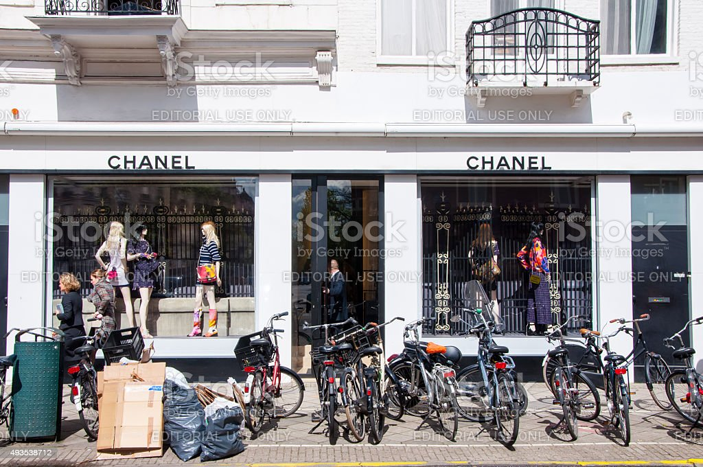 Chanel store on the P.C.Hooftstraat luxurious shopping street in Amsterdam. stock photo