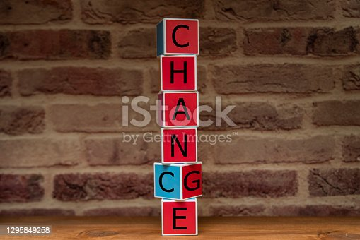 Change and Chance concept. Change and Chance words written on multi color wood blocks.