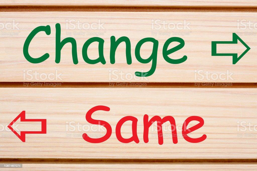 Change and Same Concept stock photo