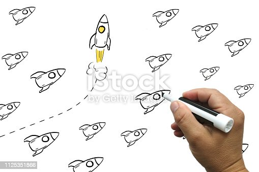 Change business competition leadership rocket whiteboard drawing