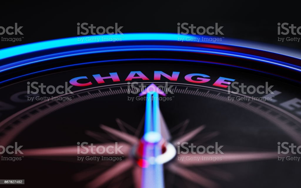 Change Concept: Arrow of A Compass Pointing Change Text stock photo