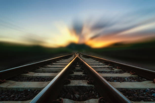 Change Concept Soft focus Railway track,Change Concept or Choices concept. vanishing point stock pictures, royalty-free photos & images