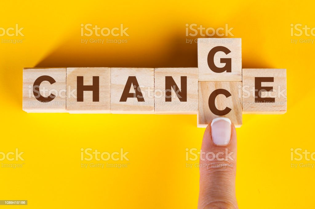 Woman finger pushing wooden cube with word change to chance letters