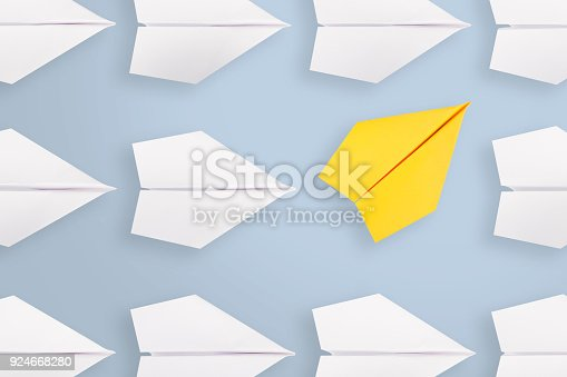 istock Change concepts with yellow paper airplane 924668280
