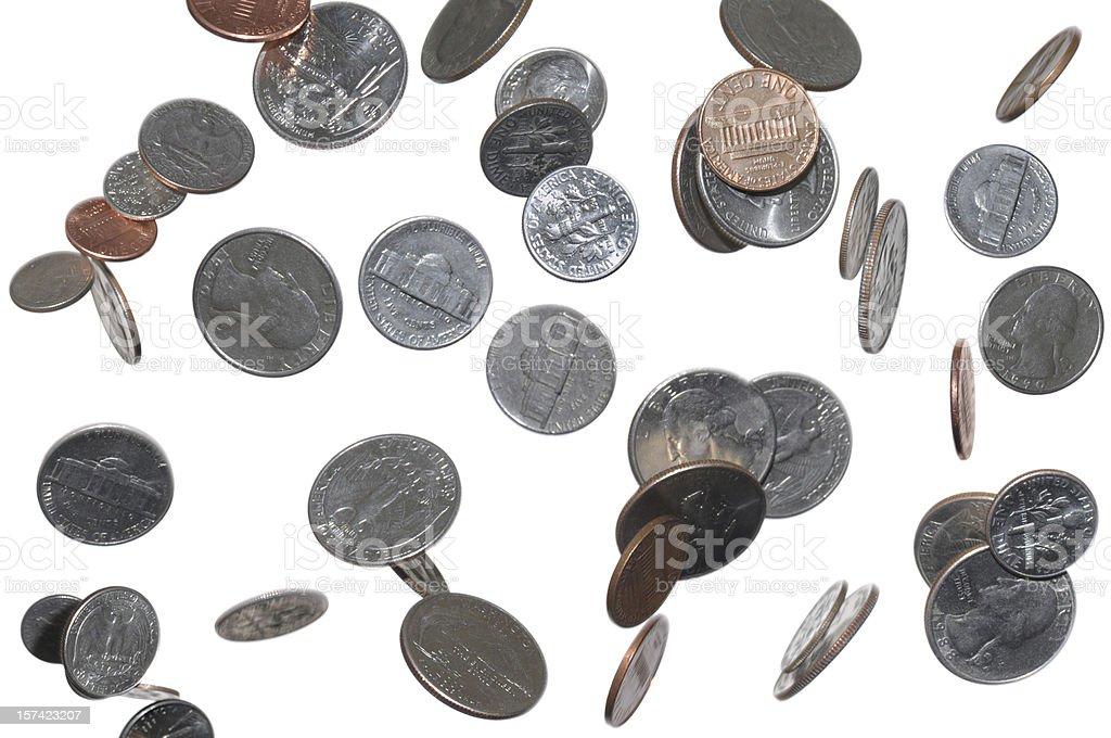 Change Falling From Sky, Heaven; Pennies, Dimes, Quarters, Nickles stock photo