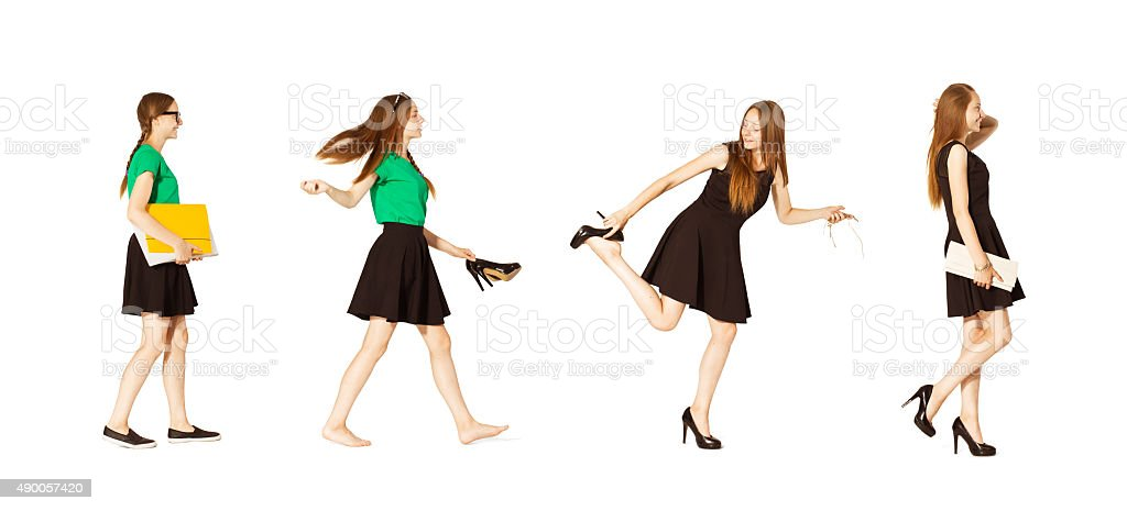 Change from schoolgirl to party woman. stock photo