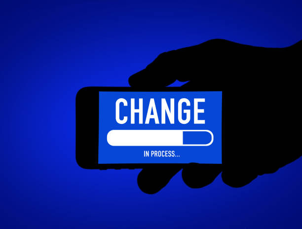 Change in process - mobile phone message stock photo