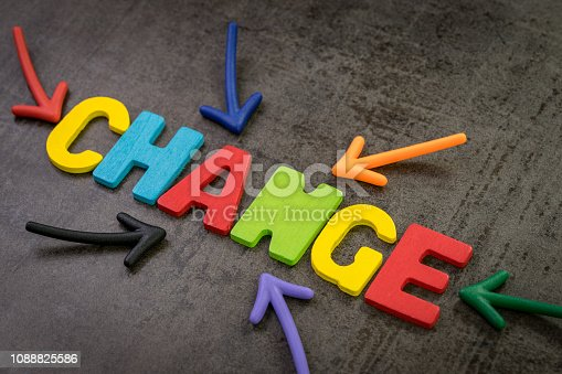 istock Change management, business transformation or move before disruption concept, multi color magnet arrows pointing to the word CHANGE at the center of dark black cement chalkboard wall background 1088825586
