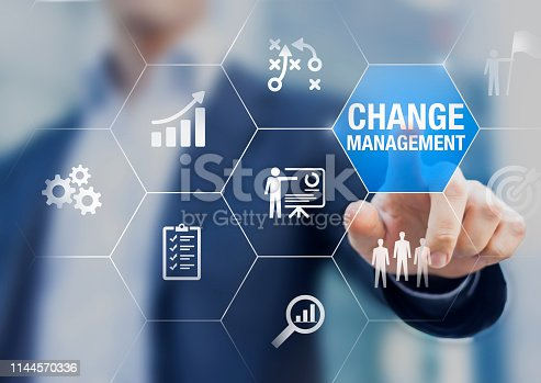 istock Change management in organization and business concept with consultant presenting icons of strategy, plan, implementation, communication, team, success. Organizational transition and transformation 1144570336