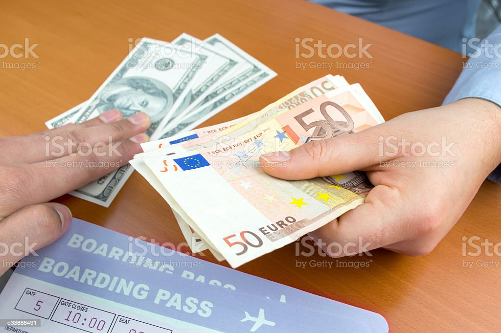 change money at the airport stock photo