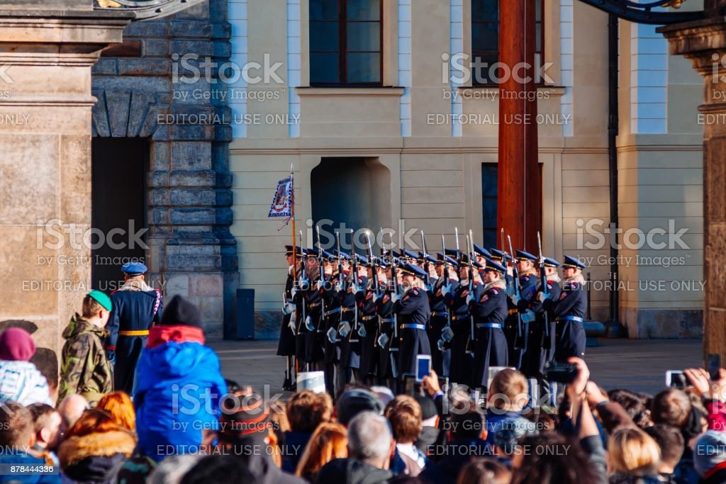 Change of guard of honor near the presidential palace in Prague in Prague, Czech Republic stock photo