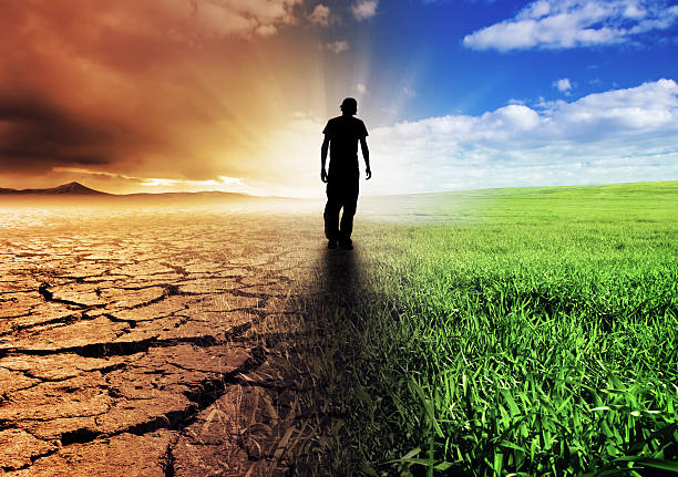 Change of Scene A Climate Change Concept Image hopelessness stock pictures, royalty-free photos & images