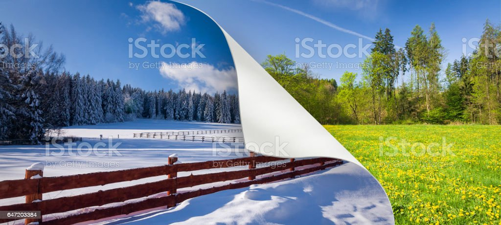 Change of season from winter to spring stock photo
