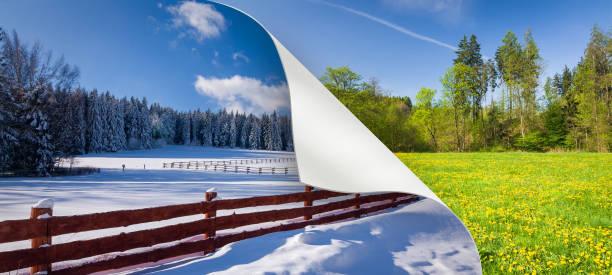Cambio de temporada de invierno a la primavera - foto de stock