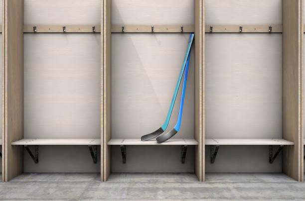 umkleidekabine & eishockeyschläger - bankhaken stock-fotos und bilder