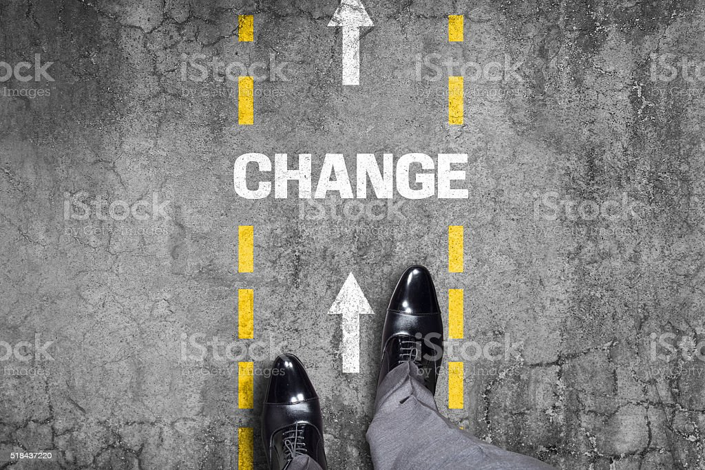 Change text on road stock photo