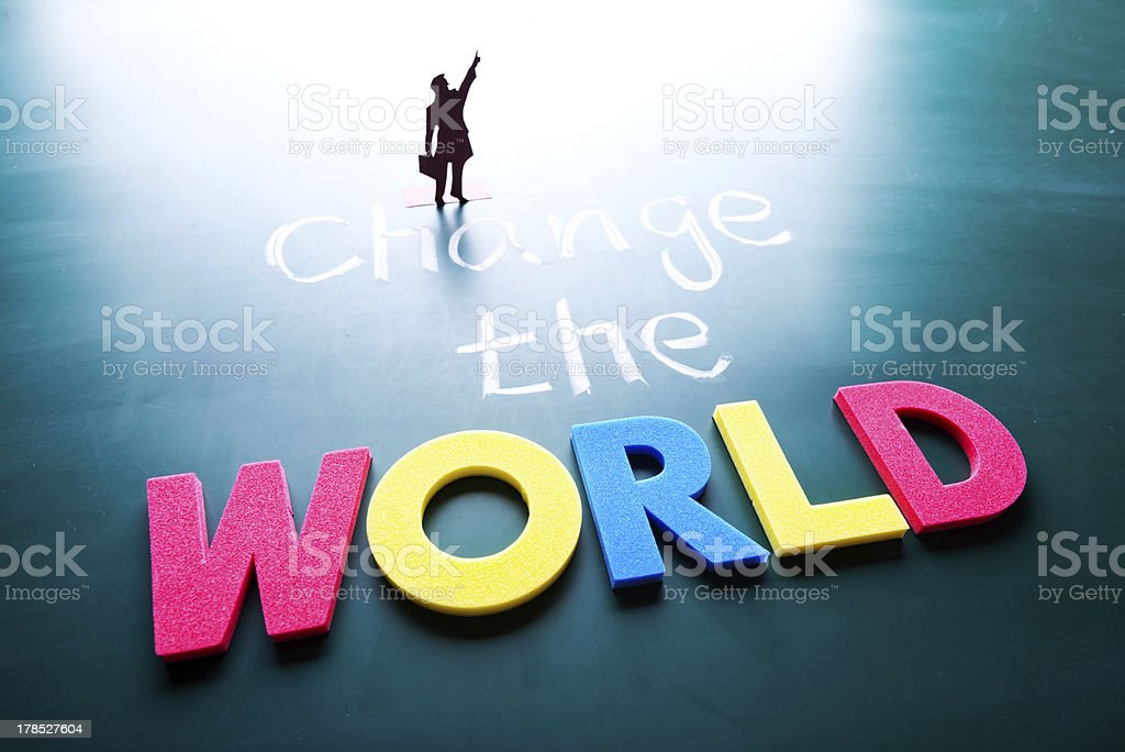 Change the world concept stock photo