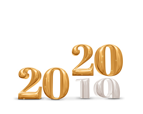 istock 2019 change to 2020 new year golden number (3d rendering) on white studio room background,Holiday celebration card 1158002281