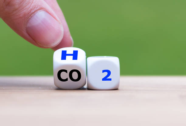 change to fuel cell vehicles. hand flips a dice and changes the expression co2 to h2. - idrogeno foto e immagini stock