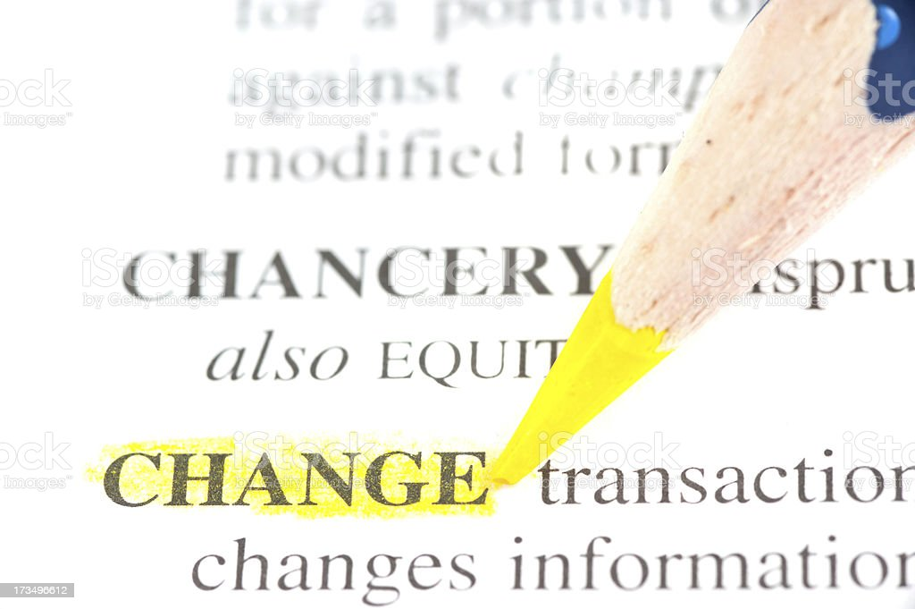change word defintion tagged  yellow in dictionary stock photo