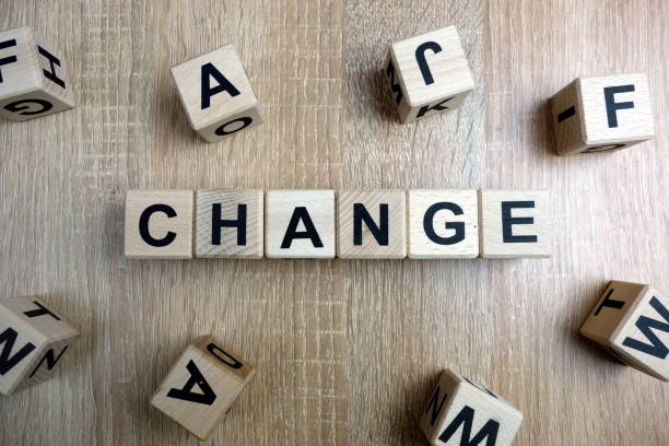 Change word from wooden blocks stock photo