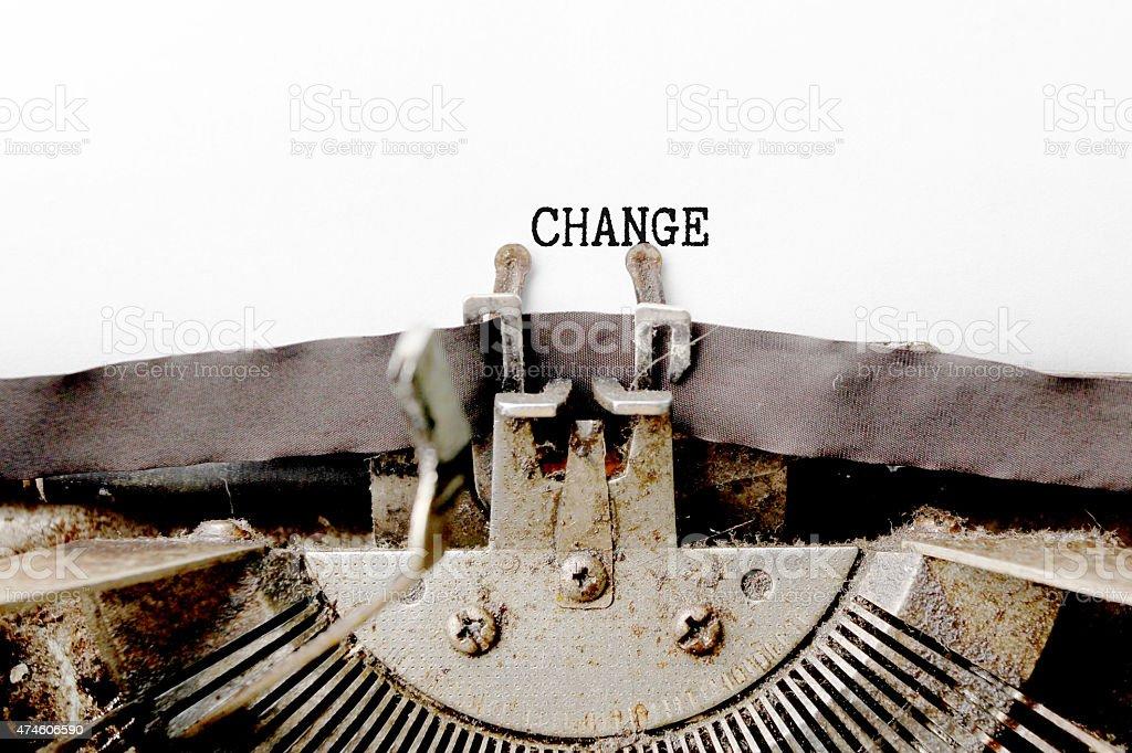 Change word made by typewriter stock photo