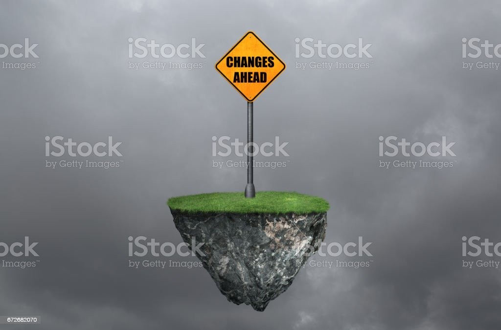Changes ahead road sign on cloud with flying stone stock photo