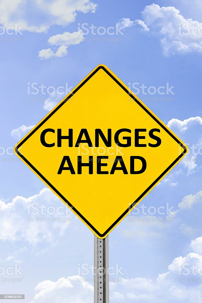 Changes Ahead Yellow Road Sign stock photo