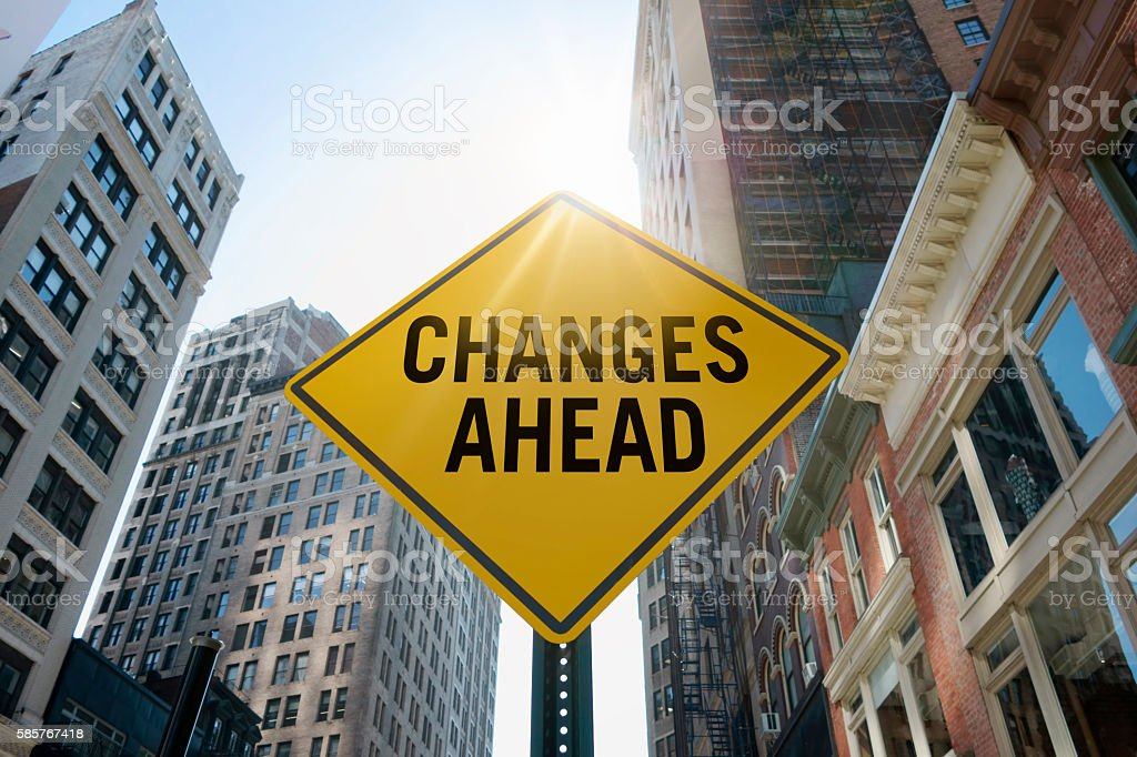 'Changes ahead'traffic sign bildbanksfoto