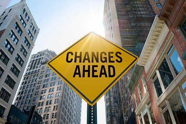 """changes ahead""traffic sign - change stock photos and pictures"