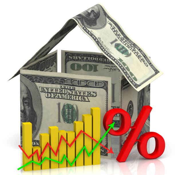changes in real estate prices - interest rate stock photos and pictures