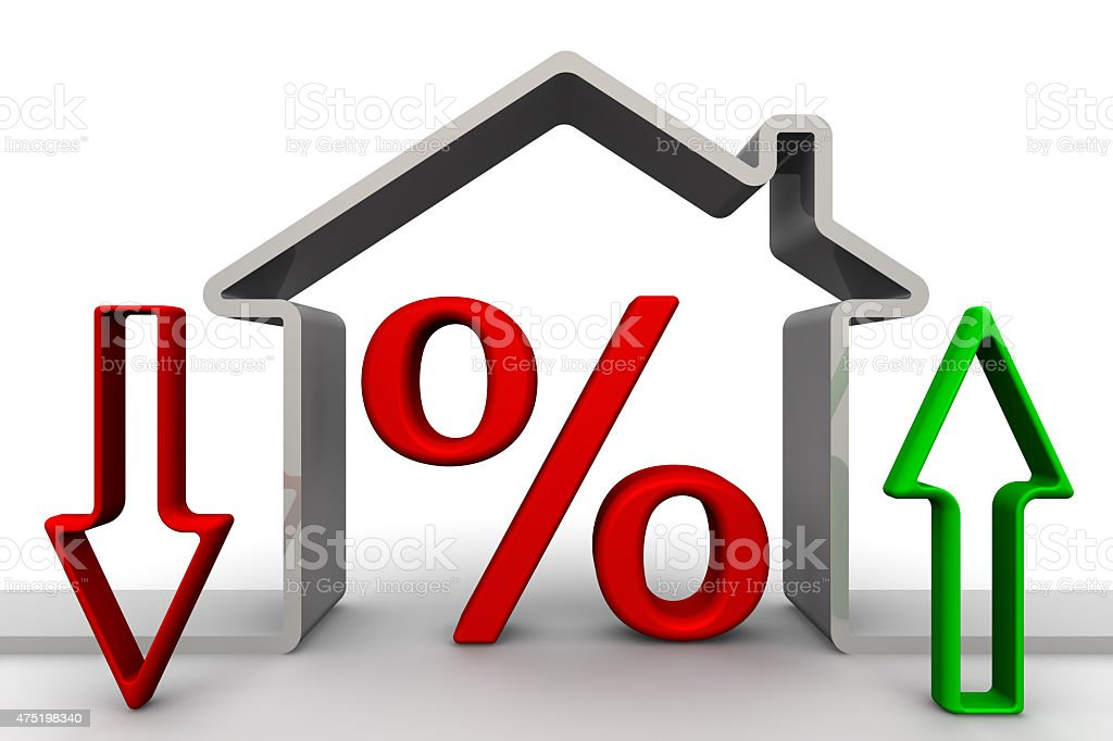 Changes percent on mortgages. Concept stock photo