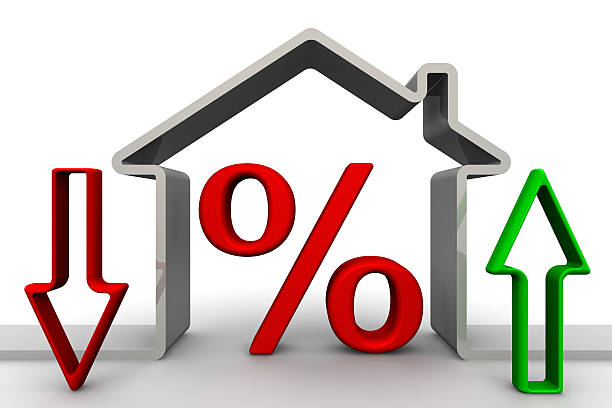 changes percent on mortgages. concept - interest rate stock photos and pictures