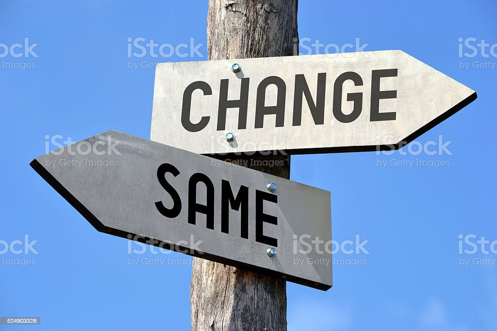 Changes signpost stock photo