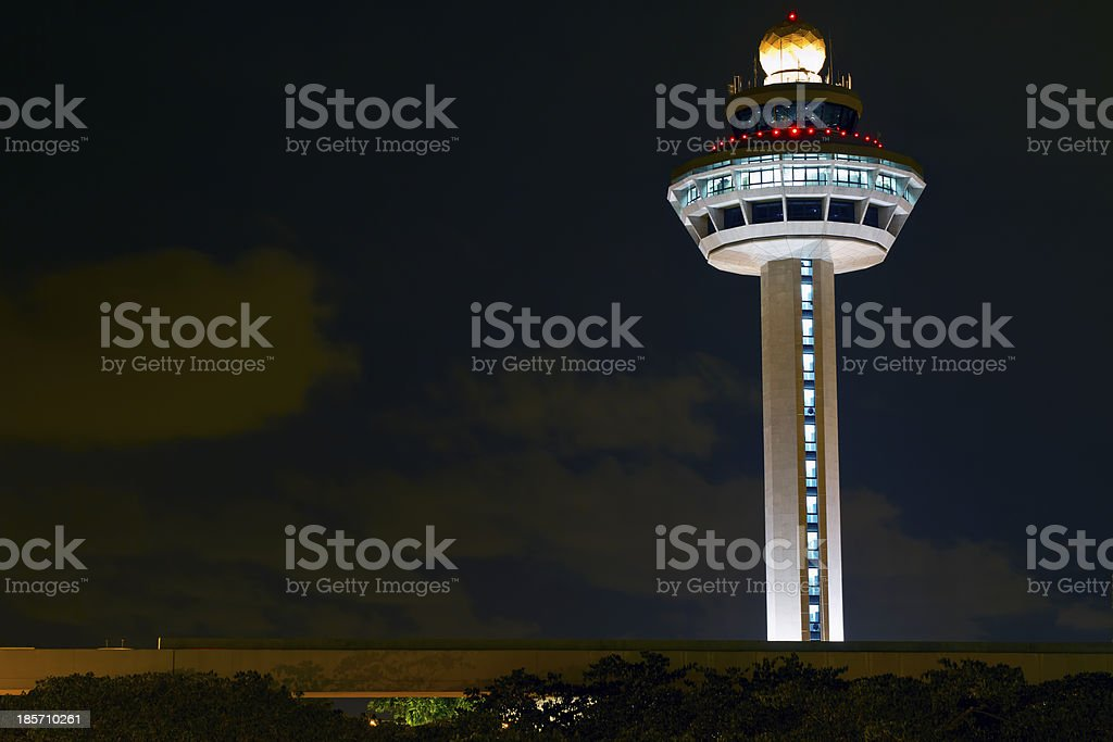 Changi Airport Controller Tower at Night stock photo