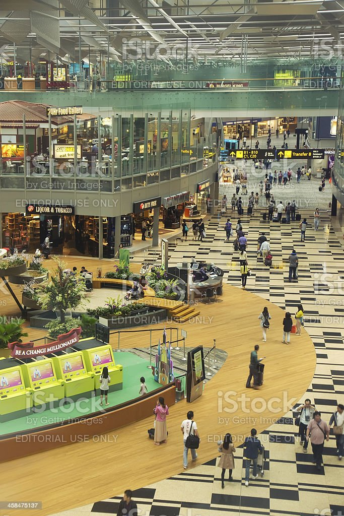 Changi Airport Departure Hall stock photo