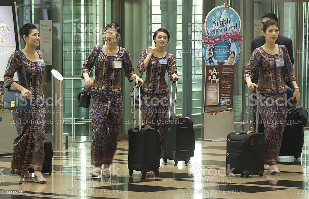Changi Airport - Singapore Girls stock photo