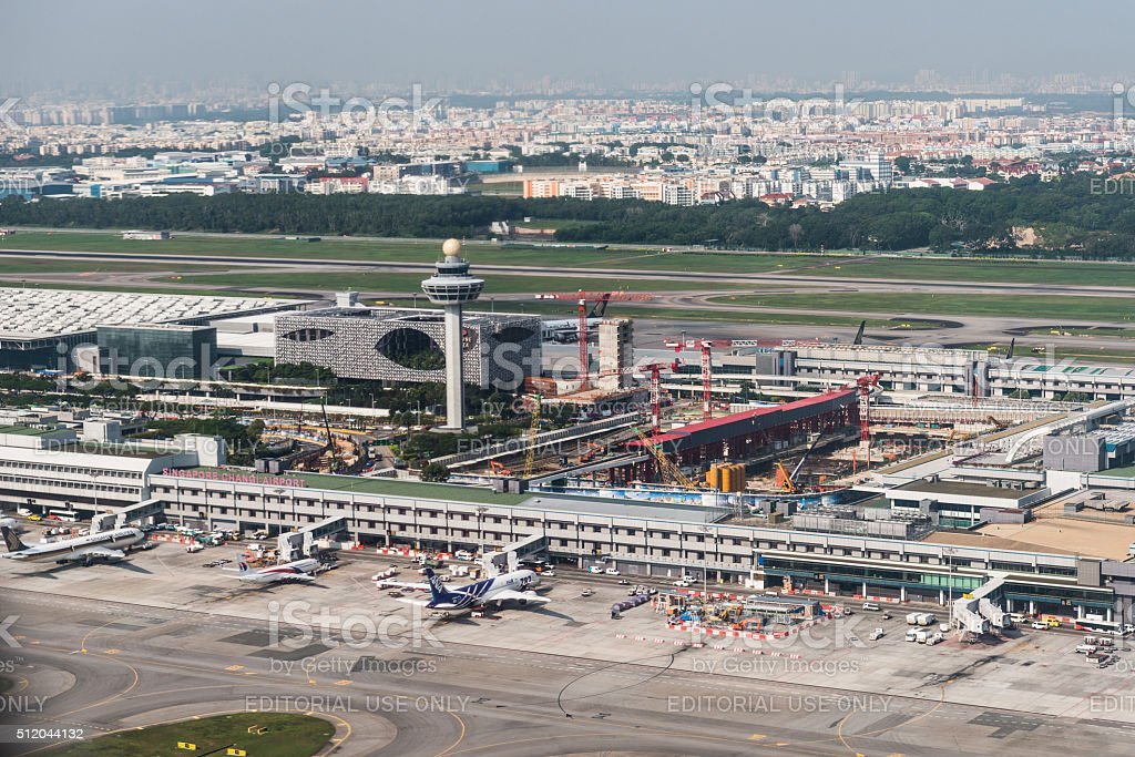 Changi International Airport, busy aviation hub in Southeast Asia stock photo