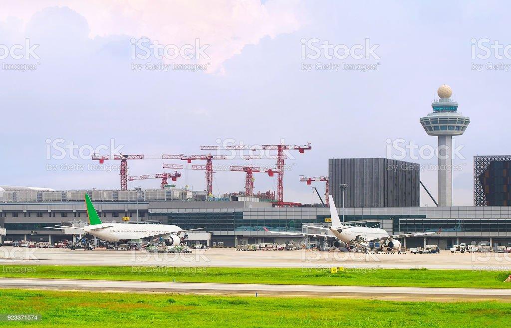 Changi International airport exterior, Singapore stock photo